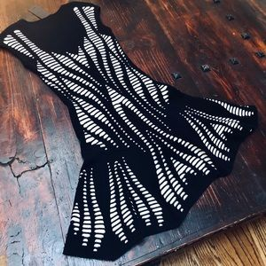 RVN Cutout Illusion Skater Dress